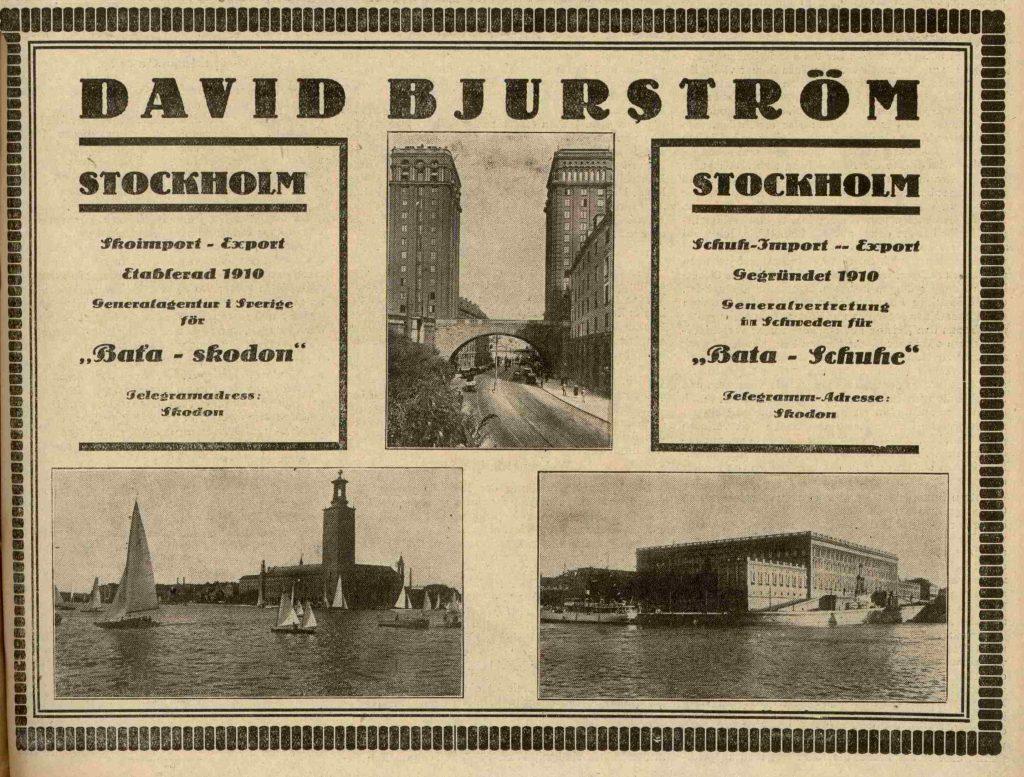 Prodejce Baťovy obuvi, Stockholm 1927