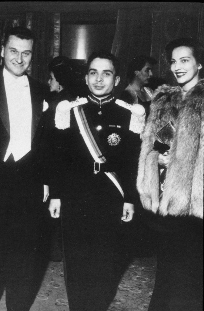 Manželé Baťovi s jordánským králem Husajnem, rok 1952