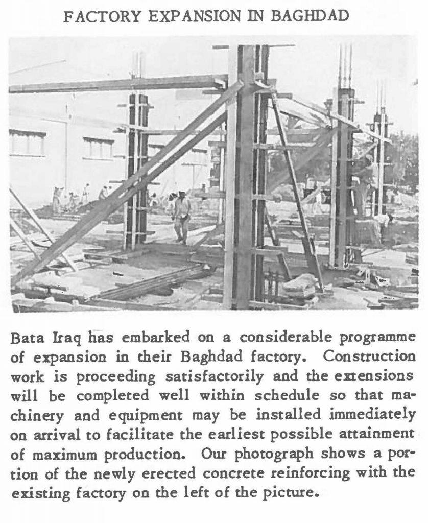 Stavba továrny v Iráku, r. 1961